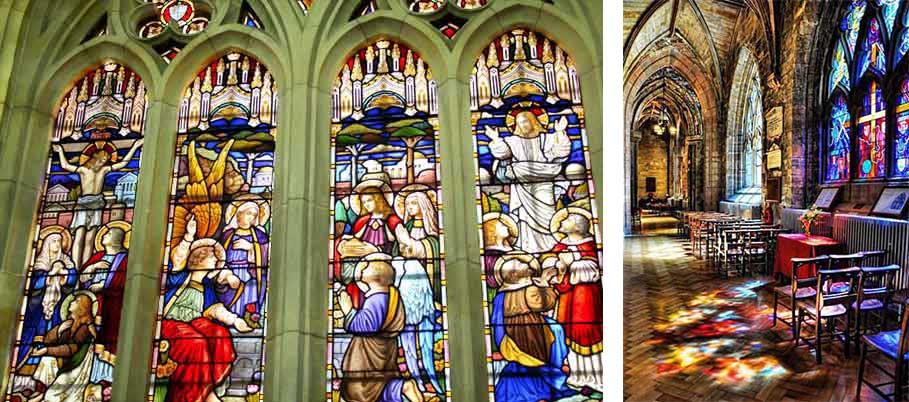 教会の窓にあるステンドグラスとステンドグラスに日光が反射して鮮やかに映る床