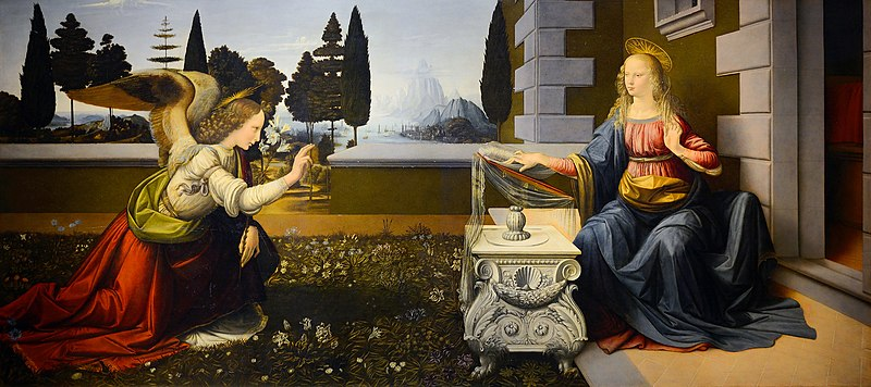 レオナルド・ダヴィンチの作品「受胎告知」