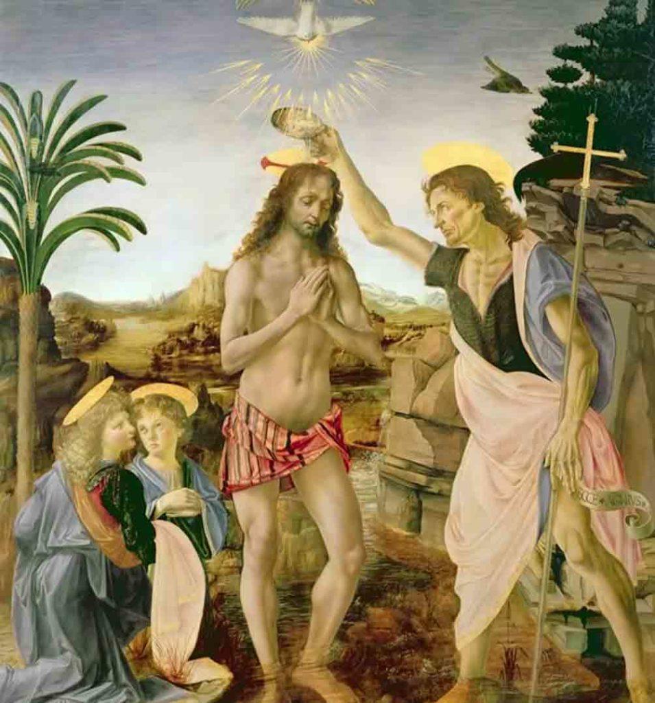 レオナルド・ダヴィンチの作品「キリストの洗礼」