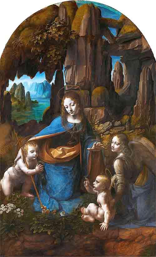 後に描き直されたダヴィンチの作品「岩窟の聖母」