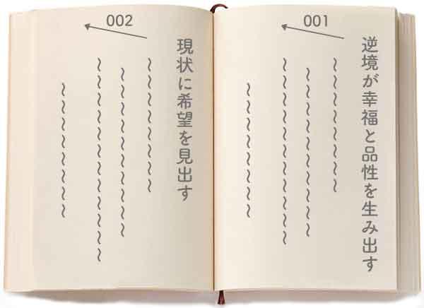カーネギー「道は開ける」における「逆境が幸福と品性を育む」と「現状に希望を見出す」のページのサンプルイメージ