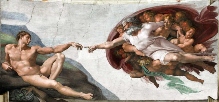 キリスト教視点で終末のワルキューレ(ミケランジェロ作「アダムの創造」のイラスト)