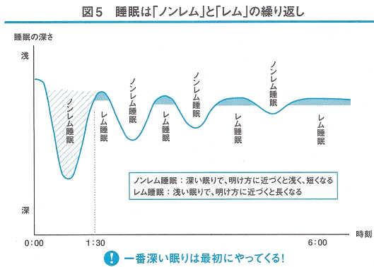 書籍「スタンフォード式最高の睡眠」によるレム睡眠とノンレム睡眠の繰り返しを表す睡眠周期のグラフ